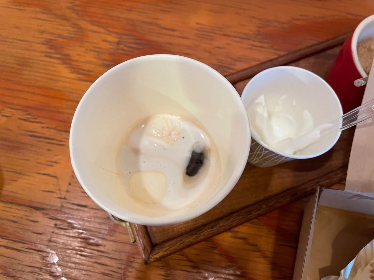 珈琲工房 木馬 生クリームを入れたコーヒー