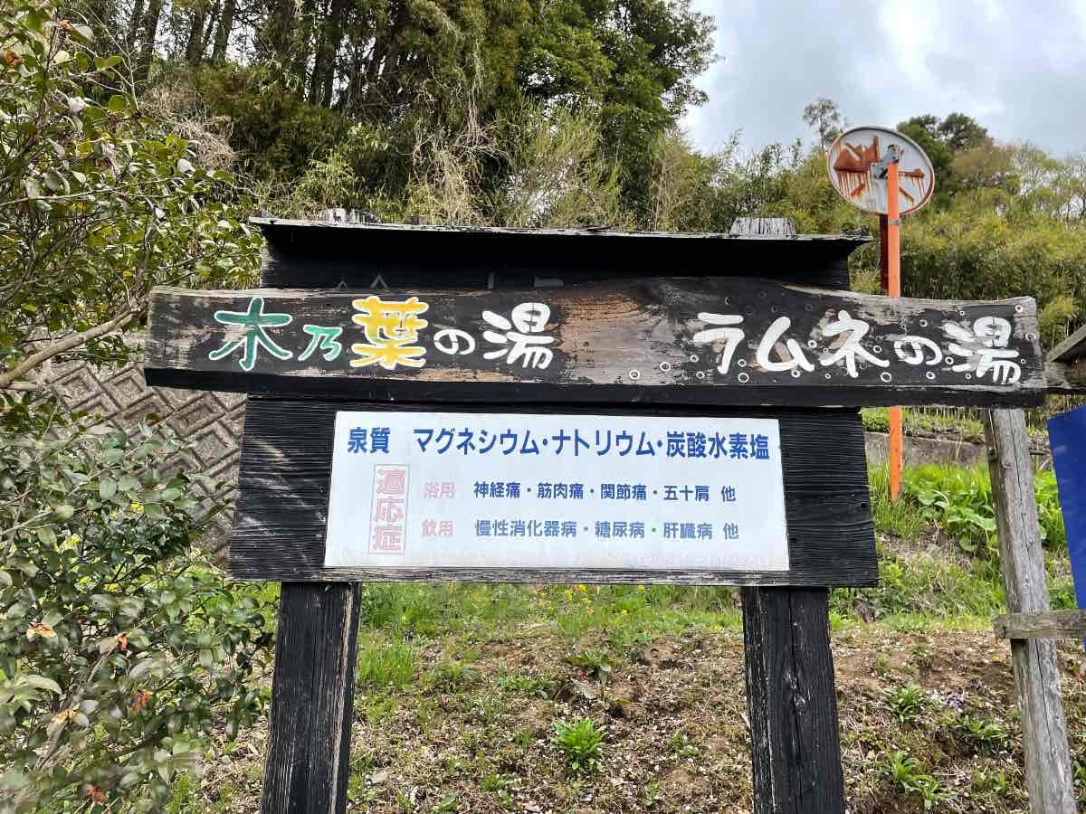 七里田温泉 看板